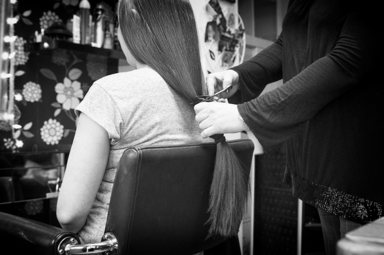 ponytail being cut off
