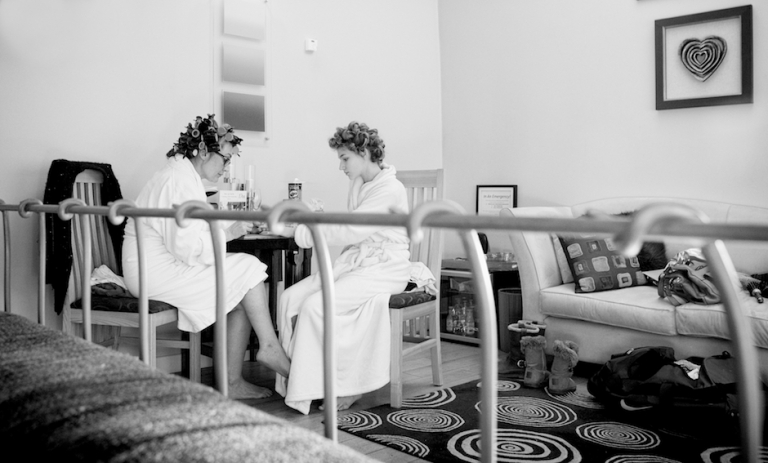 bride and curlers